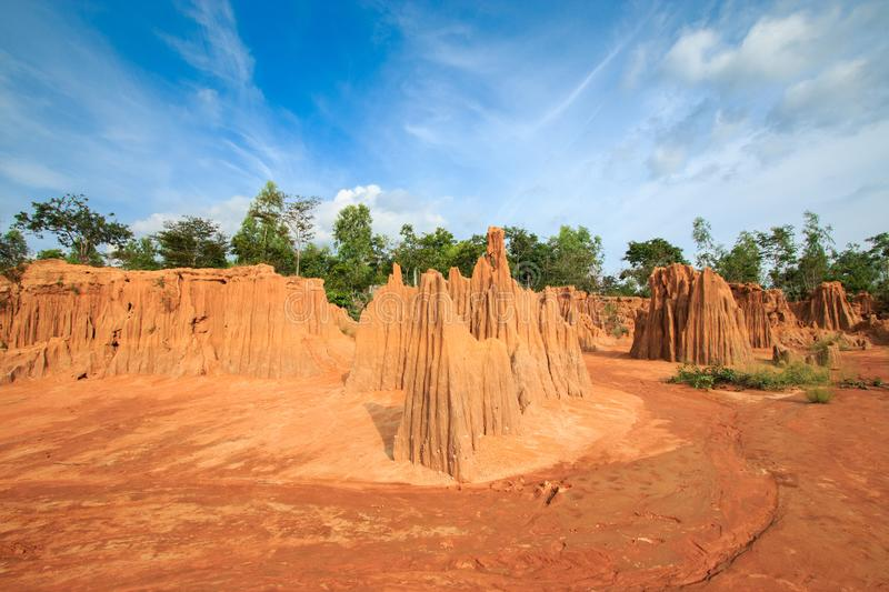 Lalu Thailand`s Soils grand Canyon in Sa kaeo province. Rainfall from erosion or erosion of soil royalty free stock photo