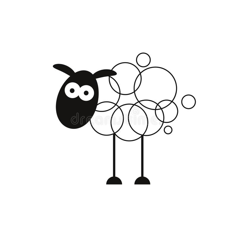 Lam Abstract Vectorteken, Symbool of Logo Template Hand Getrokken Lam Sillhouette met Retro Typografie stock illustratie