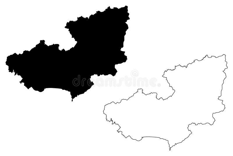 Lam Dong Province-kaartvector vector illustratie