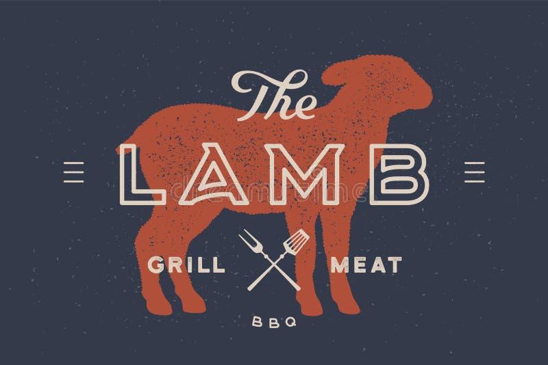 Lam Embleem met lam of schapensilhouet vector illustratie