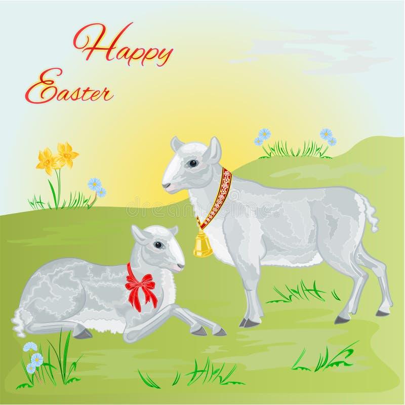 Lam en schapen de lente achtergrondvector vector illustratie