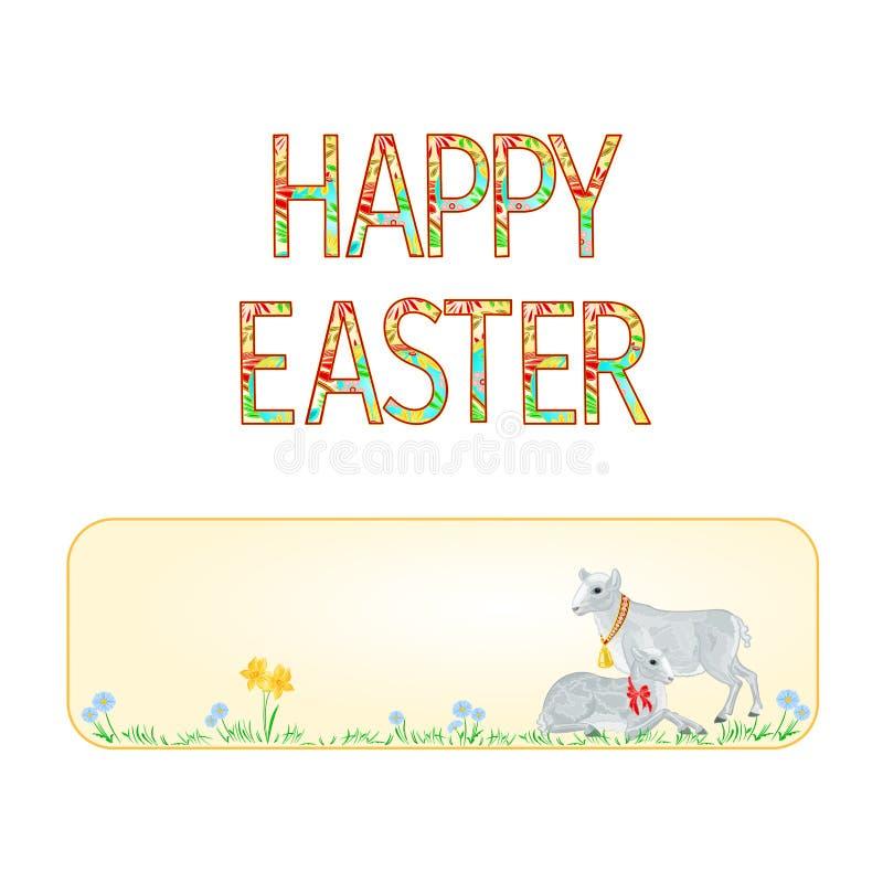 Lam en schapen van banner de het Gelukkige Pasen met de vector van de lentebloemen vector illustratie
