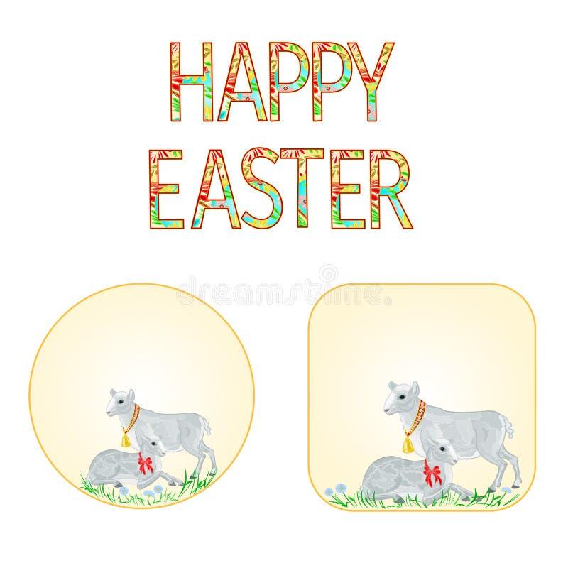 Lam en schapen van knopen de het Gelukkige Pasen met de vector van de lentebloemen stock illustratie