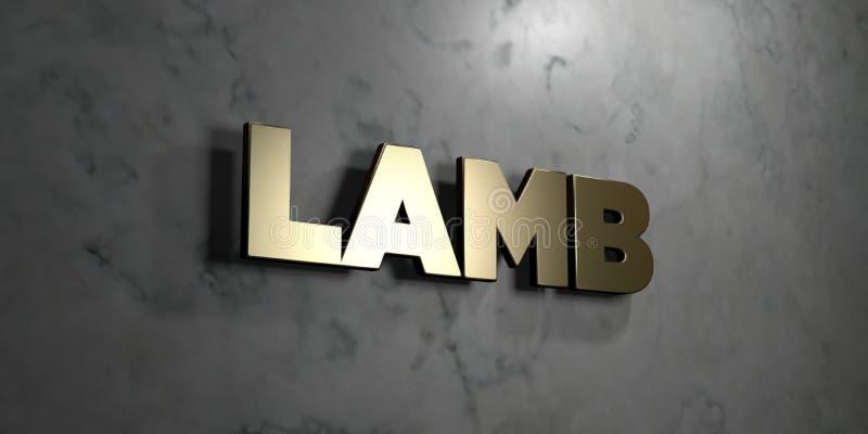 Lam - Gouden teken opgezet op glanzende marmeren muur - 3D teruggegeven royalty vrije voorraadillustratie royalty-vrije illustratie