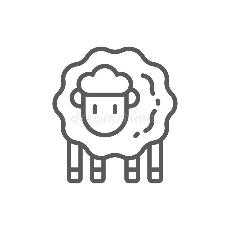 Lam, het pictogram van de schapenlijn vector illustratie