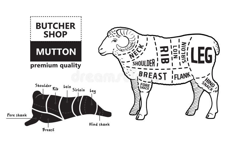 Lam of schaapbesnoeiingendiagram Slager Shop stock illustratie