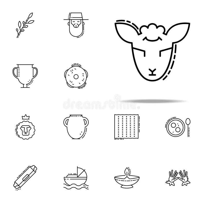 Lam van Godspictogram Voor Web wordt geplaatst dat en het mobiele algemene begrip van judaïsmepictogrammen royalty-vrije illustratie