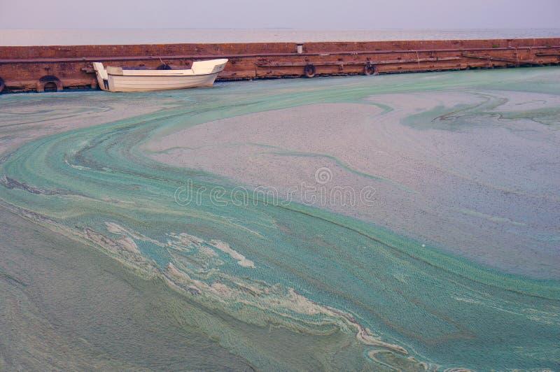 Lama, água e barco no horizont Fundo para um cartão do convite ou umas felicitações O porto de Nida foto de stock