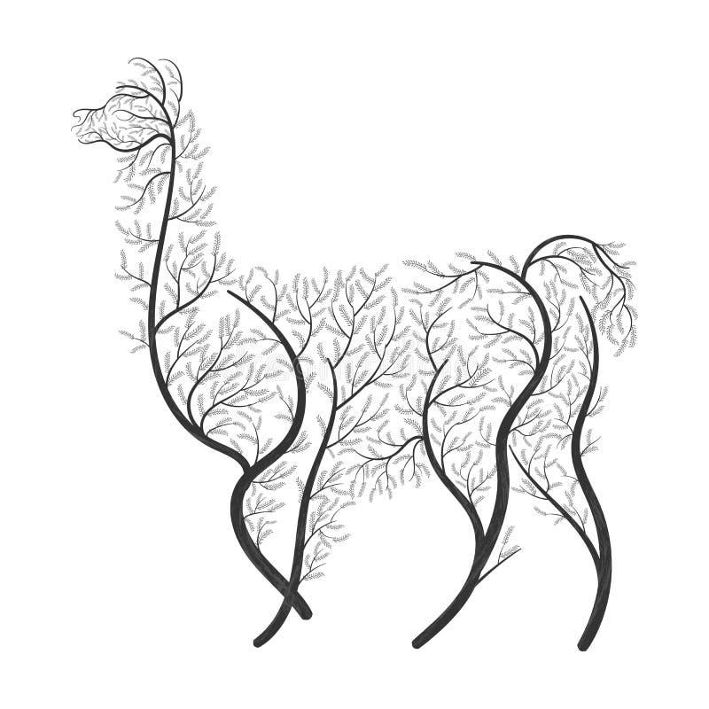 Lama Alpaca, guanaco ha stilizzato i cespugli su un fondo bianco per uso come logos sulle carte, nella stampa, manifesti, inviti, fotografia stock libera da diritti