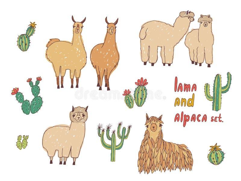 Lama, alpaca linda y cactus fijados Ejemplo colorido dibujado mano del vector libre illustration