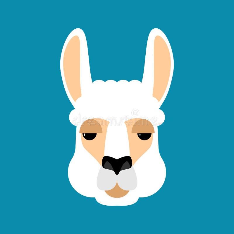 Lama Alpaca vänder mot isolerat Djurt huvud också vektor för coreldrawillustration royaltyfri illustrationer