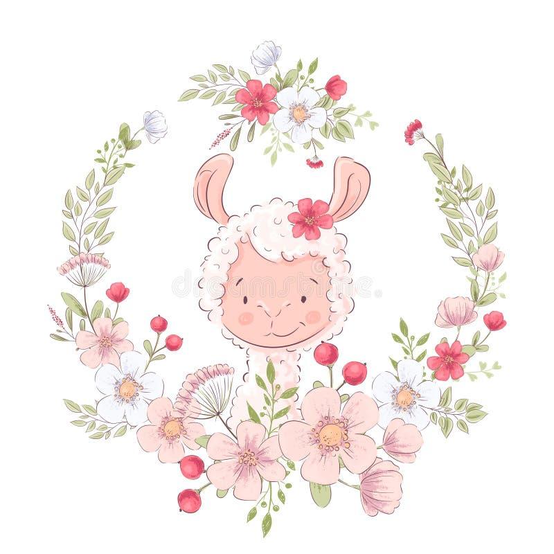 Lama bonito do cartaz do cartão em uma grinalda das flores Desenho da m?o Vetor ilustração royalty free