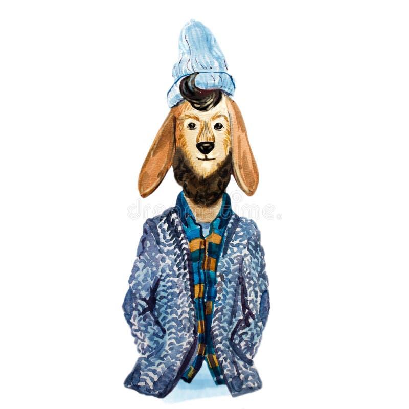 Lama bonito do moderno com a barba no lenço, no revestimento e no chapéu ilustração stock