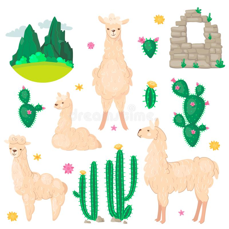 Lama and cactus set. Alpaca wool and llamas, succulents and Peru american valley with mountins vector illustration. vector illustration
