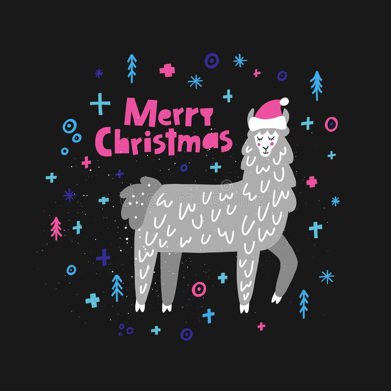 Merry Christmas Lama royalty free illustration