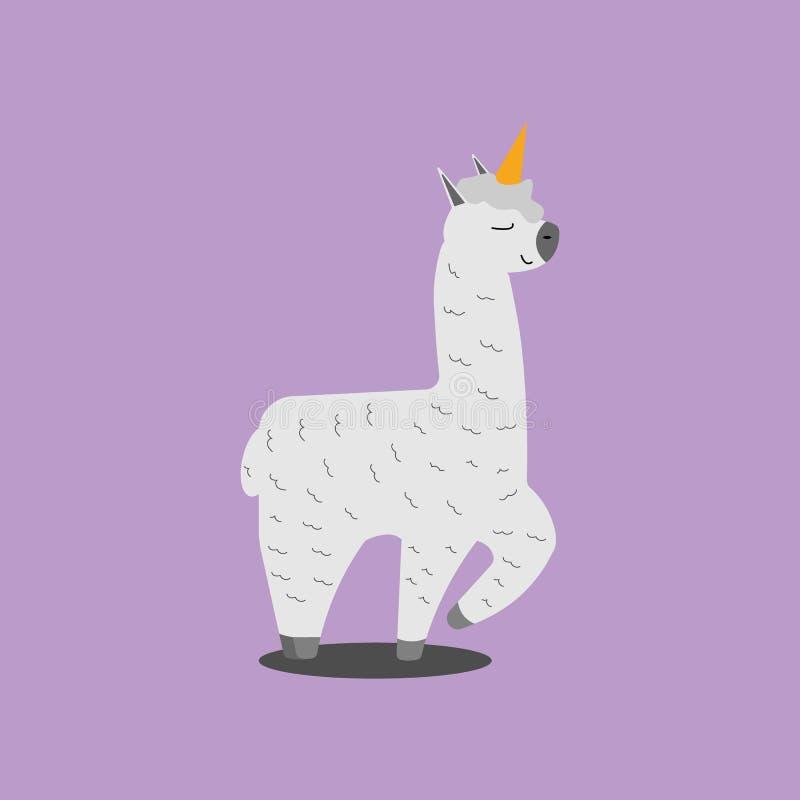 Lama cor-de-rosa de sorriso engraçado do unicórnio, alpaca Ilustração do vetor do personagem de banda desenhada ilustração royalty free