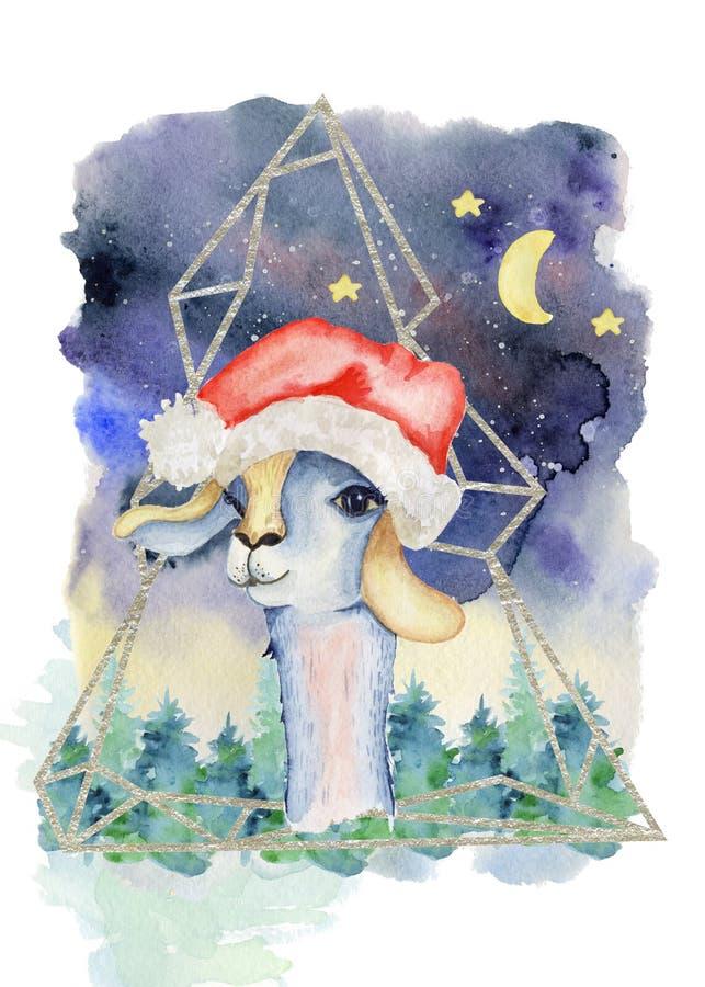 Lama do bebê na ilustração tirada mão do Feliz Natal da aquarela do chapéu de Santa ilustração royalty free