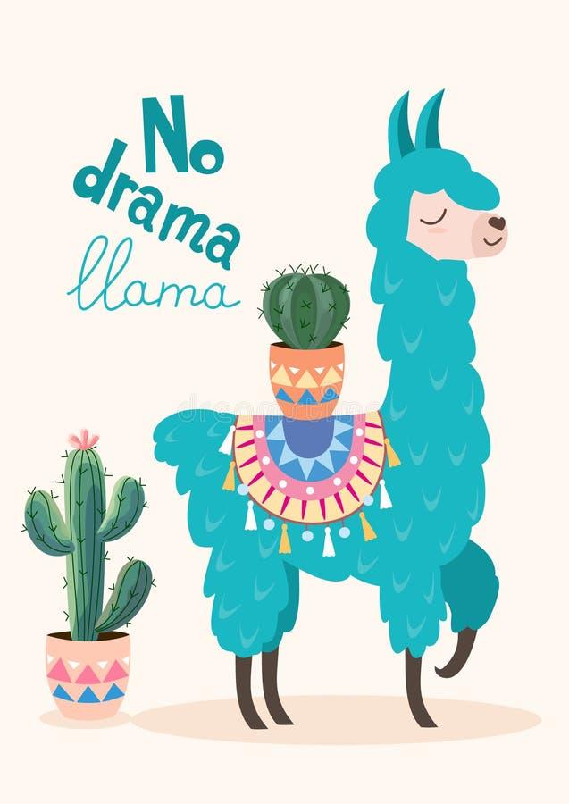 Lama elegante de la historieta del vector con diseño y el cactus del ornamento Ningún cartel de la llama del drama libre illustration