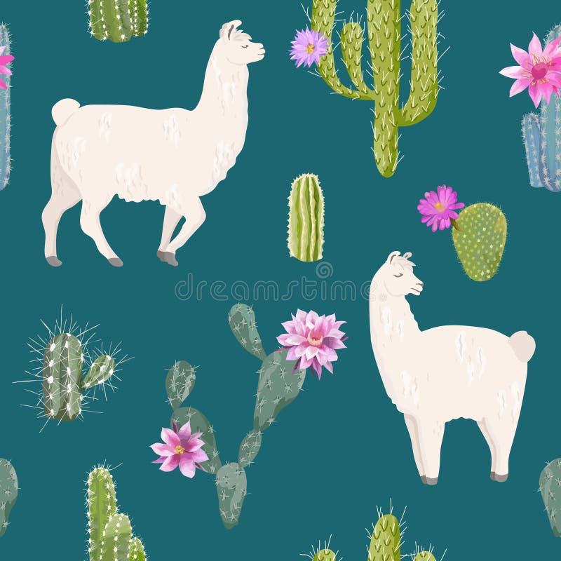 Lama en Cactus Naadloos Patroon De Aardachtergrond van het lama'swild voor Stof, Behang, Verpakkend Document, Decoratie royalty-vrije illustratie