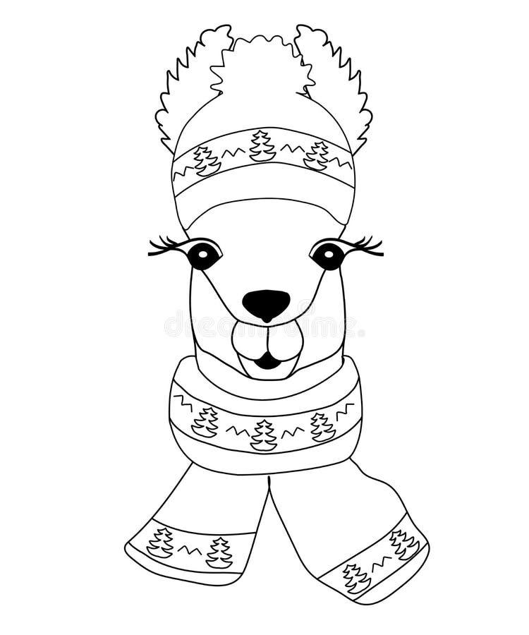 Lama en un sombrero del invierno con una bufanda que representa un árbol de navidad Llama negro-blanca para colorear, impresión i imágenes de archivo libres de regalías