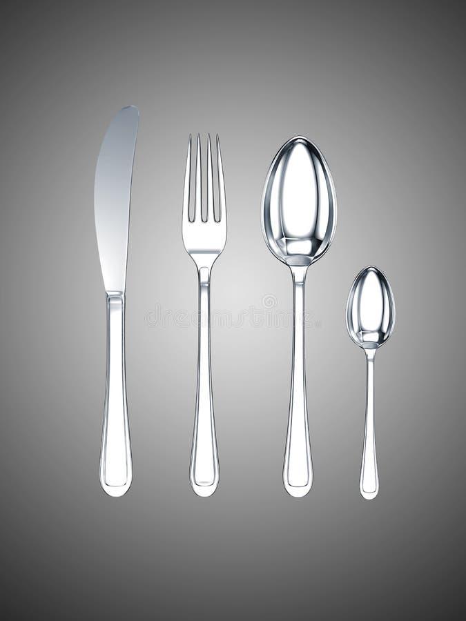 Lama, forcella, cucchiaio, cucchiaino da tè illustrazione di stock