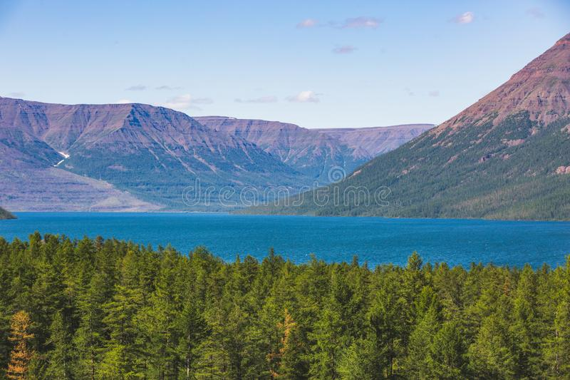 Lama Lake on Putorana Plateau. Russia royalty free stock photography