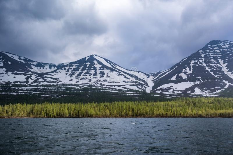 Lama Lake on Putorana Plateau. Russia stock photo