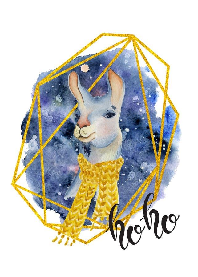 Lama lindo en cita dibujada mano amarilla de las letras del ejemplo de la Feliz Navidad de la acuarela de la bufanda stock de ilustración