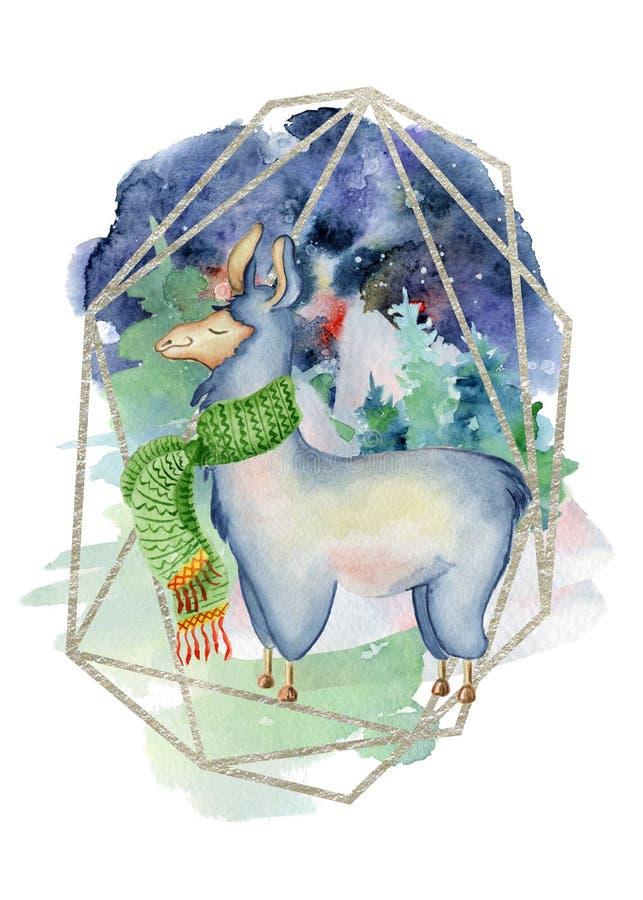 Lama lindo en cita dibujada mano amarilla de las letras del ejemplo de la Feliz Navidad de la acuarela de la bufanda ilustración del vector