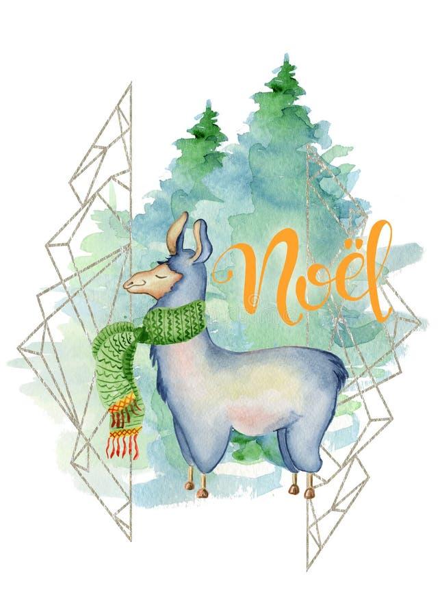 Lama lindo en el ejemplo dibujado mano verde de la Feliz Navidad de la acuarela de la bufanda ilustración del vector