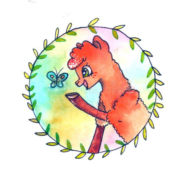 Lama med fjärilen på regnbågebakgrund Den roliga vattenfärgen skissar tecknad filmalpaca arkivfoton