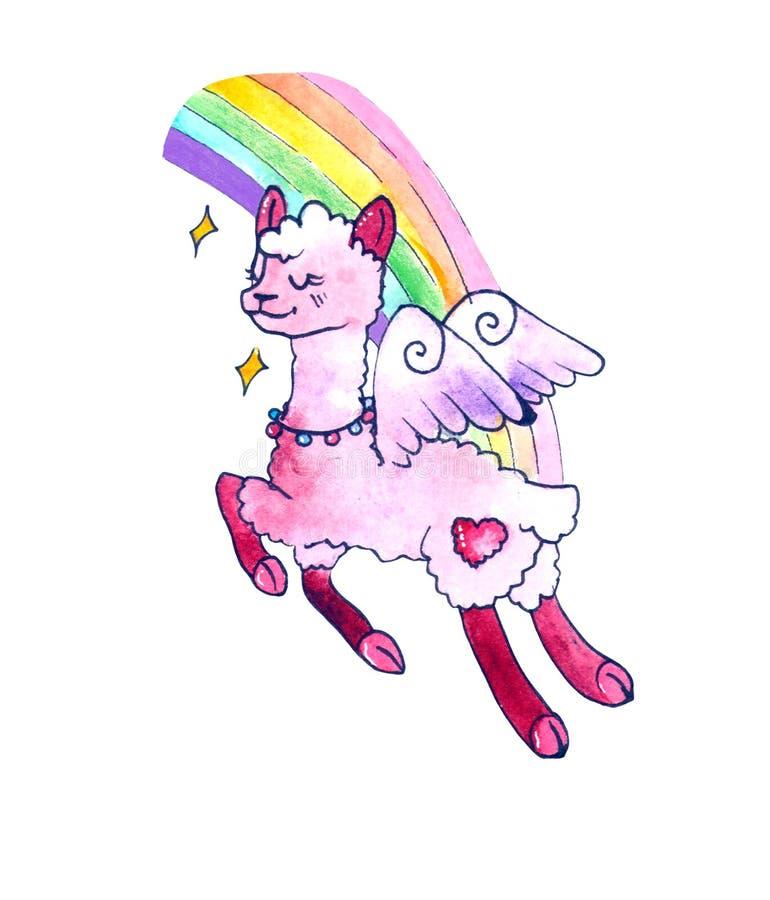 Lama met vleugels op regenboogachtergrond Grappige het beeldverhaalalpaca van de waterverfschets De leuke tekening van de lama ee vector illustratie