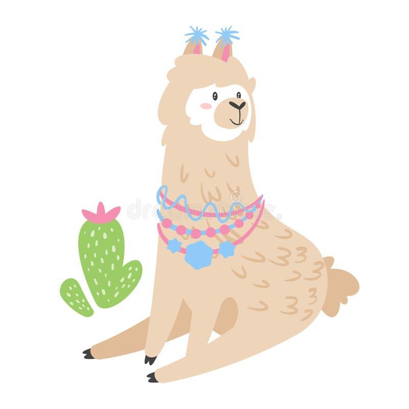 Lama mignon Animal d'alpaga illustration libre de droits