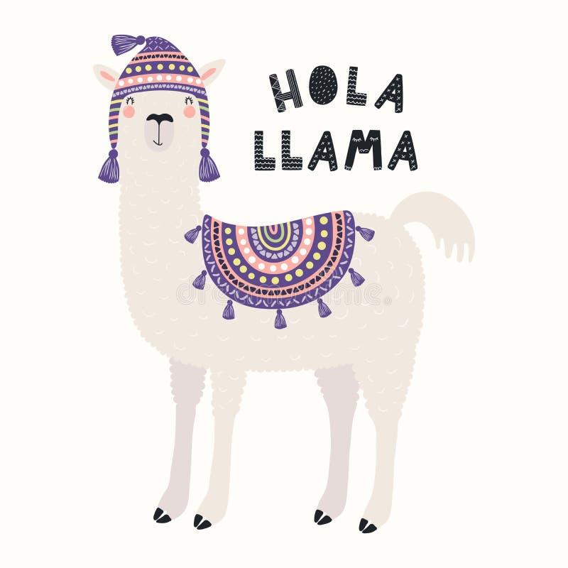 Lama mignon dans un chapeau illustration de vecteur
