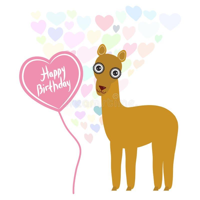 Lama mignon de kawaii de carte de joyeux anniversaire avec le ballon sous forme de coeur, couleurs en pastel sur le fond blanc De illustration de vecteur