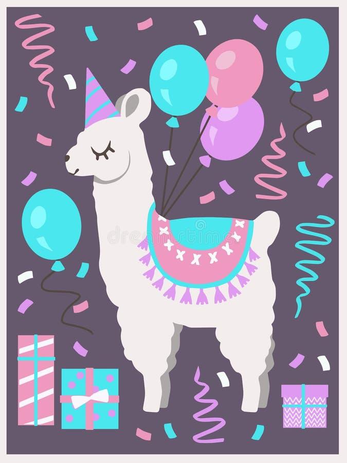 Lama o alpaga bianco sveglio con il cappello del partito, i contenitori di regalo, i palloni e la cartolina d'auguri di compleann illustrazione di stock