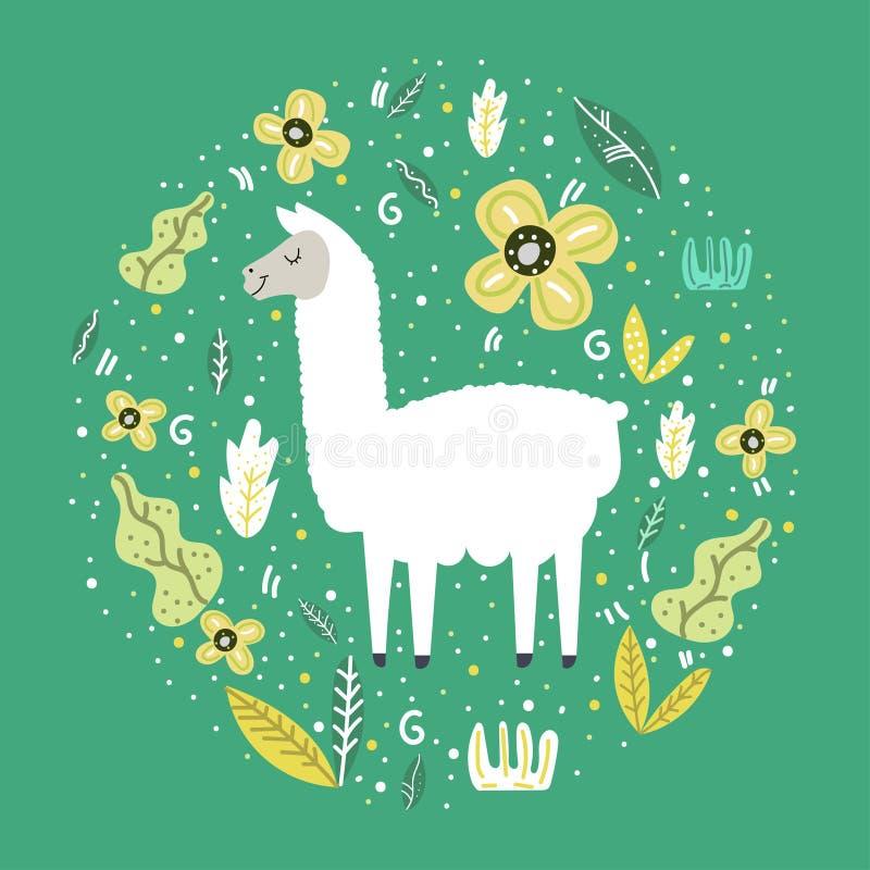 Lama op een groene achtergrond met bloemen en bladeren Vector ontwerp vector illustratie