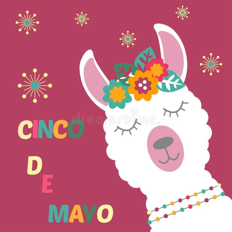 Lama op een kaart Cinco de Mayo stock illustratie