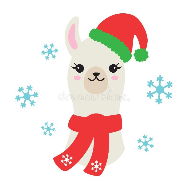 Lama ou alpaca do Natal que vestem a ilustração do vetor de Santa Hat e do lenço ilustração royalty free