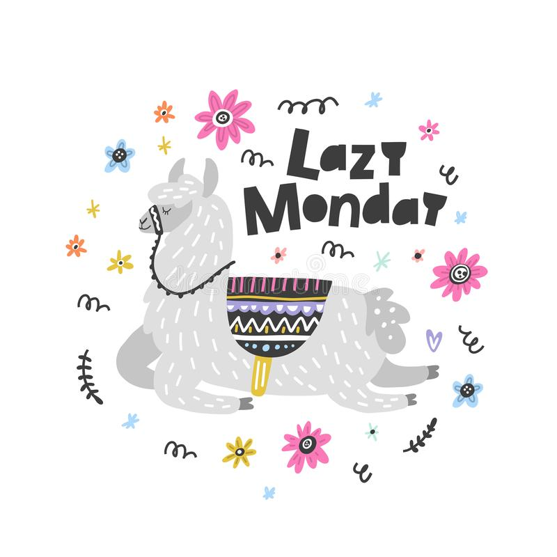 Lama perezoso de lunes stock de ilustración