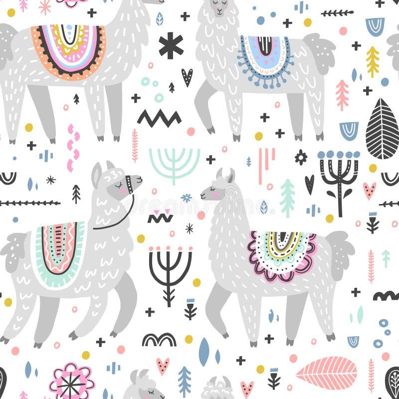 Lama Seamless Pattern ilustración del vector