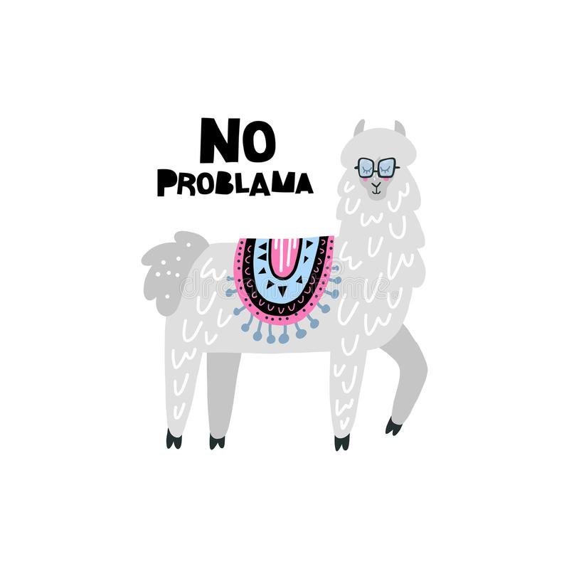 Lama Solves Problems vector illustration