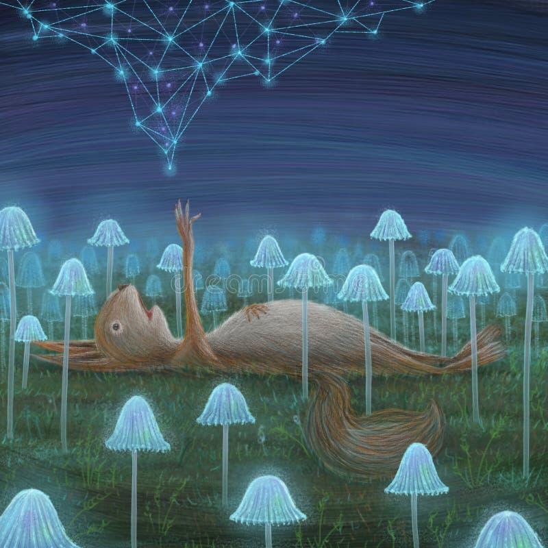 Lama, som fångades i constellationsquirrelen, som åt några psykedeliska champinjoner stock illustrationer