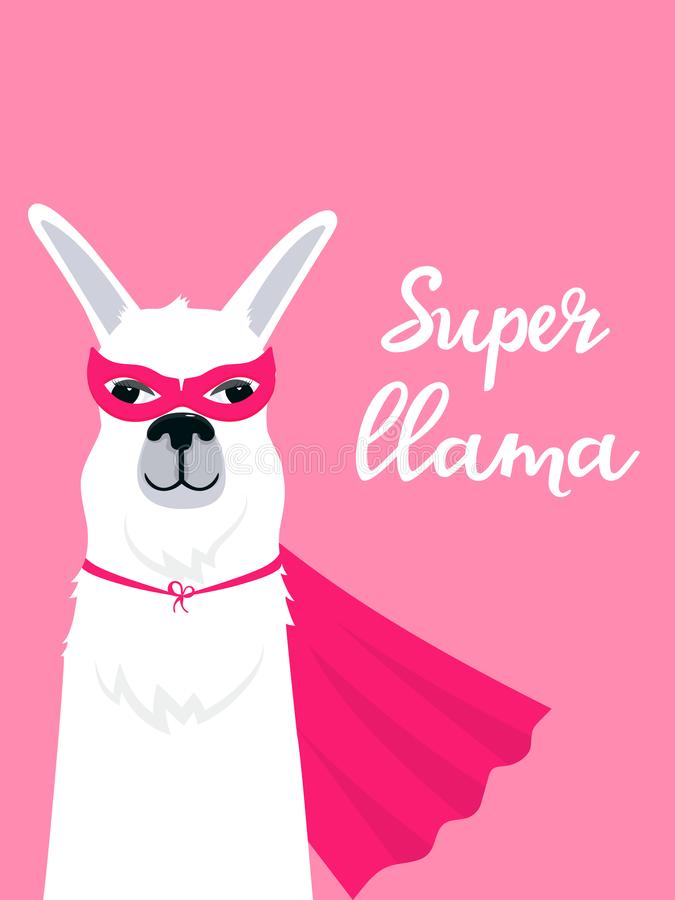 Lama in super hero costume vertical banner with hand drawn lettering. royalty free illustration