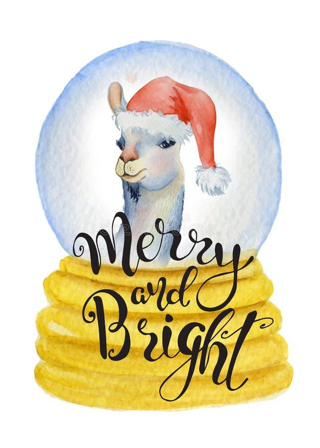 Lama sveglia in cappello di Santa dentro l'illustrazione disegnata a mano di Buon Natale dell'acquerello del globo di Natale illustrazione di stock