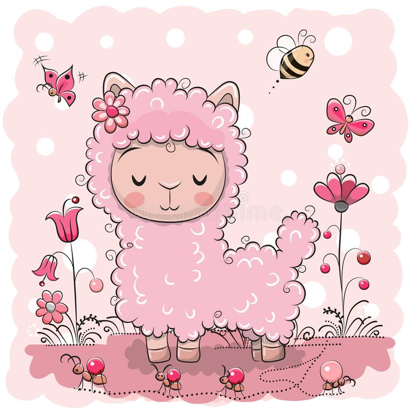Lama sveglia con i fiori e le farfalle illustrazione di stock