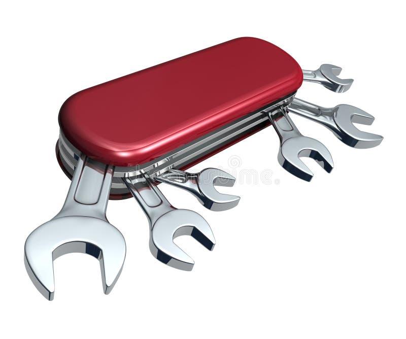 Lama svizzera con le chiavi illustrazione vettoriale