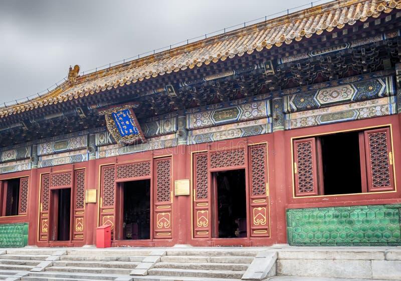 Lama Temple arkitektur och prydnader, Peking, Kina royaltyfri fotografi