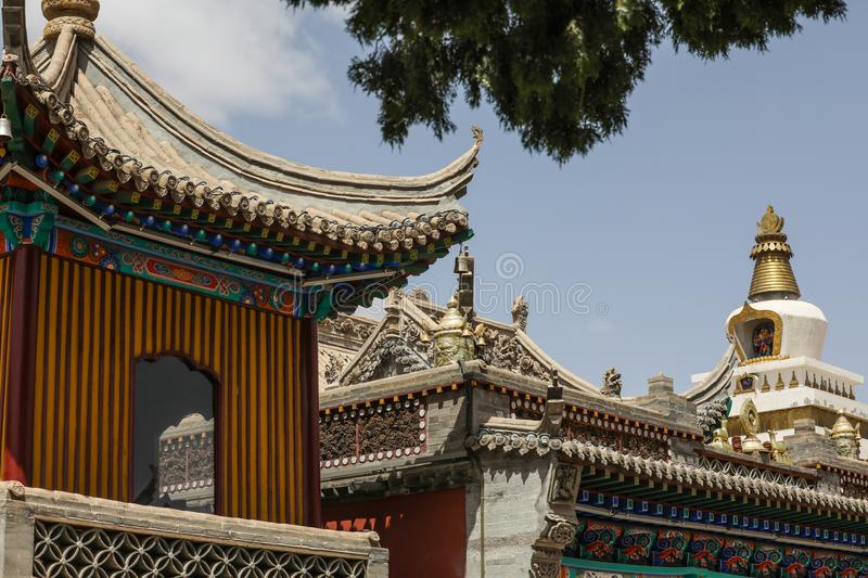 The Lama Temple and the white Buddhist pagoda. There is a white pagoda in the vicinity of the Lama Temple royalty free stock photos