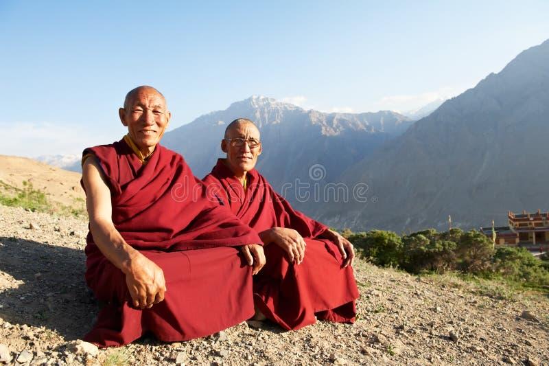 Lama tibetano da monge de dois Indian fotos de stock royalty free
